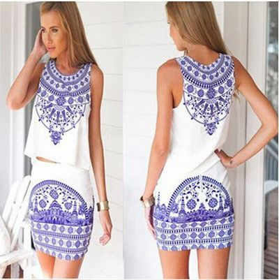 Summer Fashion New Trending Style Women Short Sleeve Beach Casual Dress Plus Size 2 Pieces Print Mini Club Party Dresses