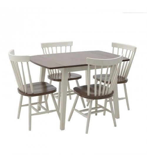 S_5 WOODEN TABLE W_4 CHAIRS IN BROWN_WHITE COLOR