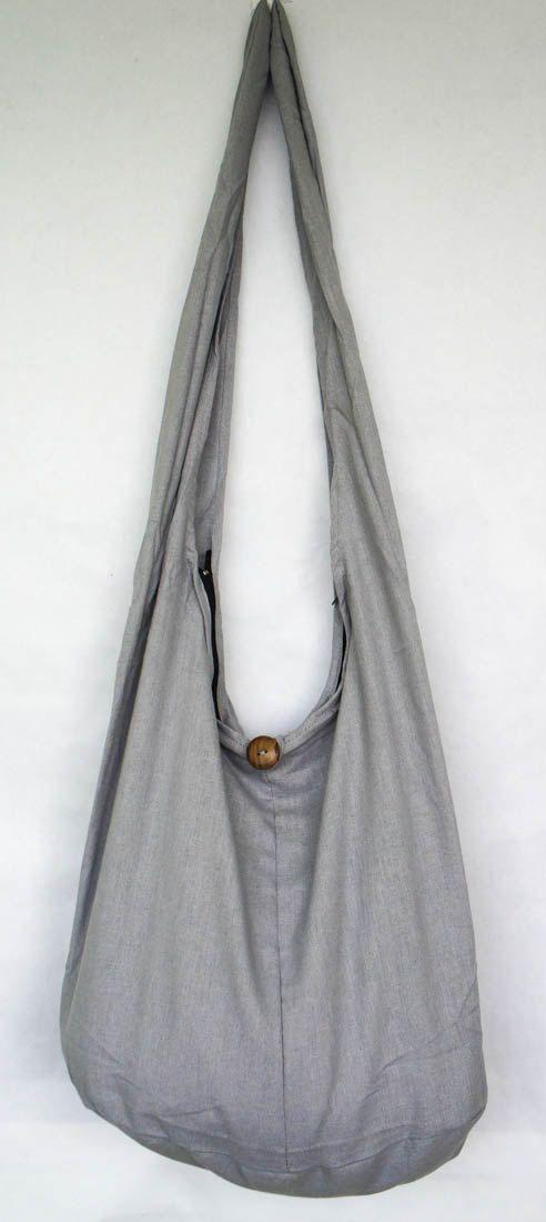 YAAMSTORE basic grijs sling schoudertas hippie hobo reizen