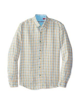 54% OFF Report Collection Men's Long Sleeve Linen Checked Woven Shirt (Olive)