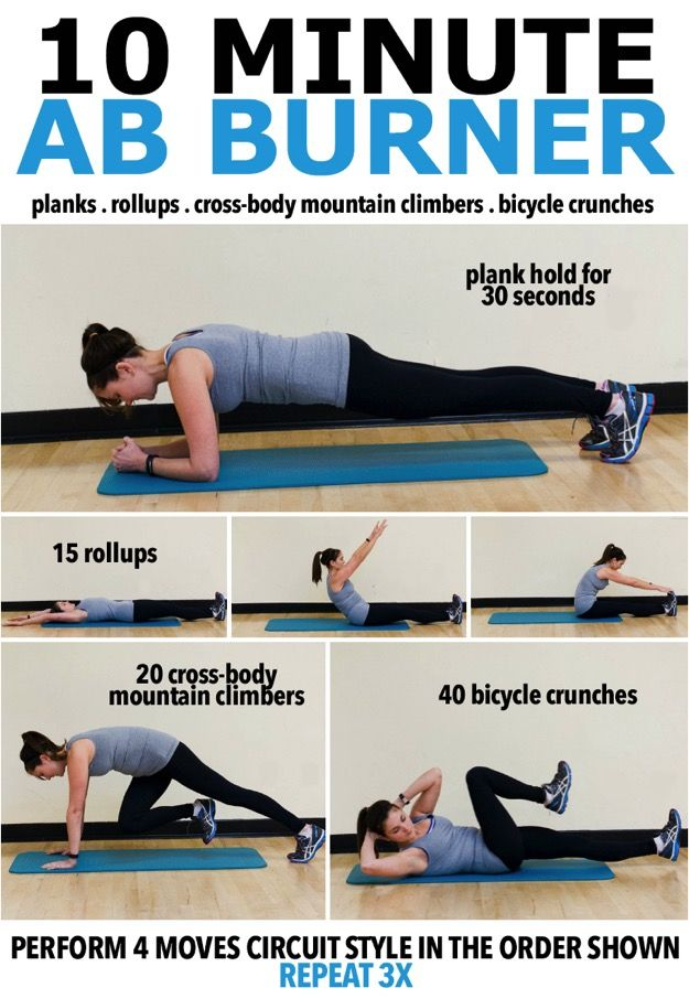 This ab burner workout requires no equipment, can be done anywhere and takes only 10 minutes to complete!
