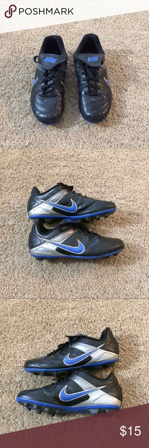 Nike Boys Versatract Soccer Cleats Shoes 3Y Nike Boys Versatract Soccer Cleats Shoes 359622-041  Type: Athletic Shoes  Style: Soccer Cleats    Brand: Nike  Size: 3 Y  Width: Medium (B,M)  Material: Man made Materials  Color: Black Blue  Conditions: Used. This shoes have normal sing of wear please see pictures.  Country of Manufacturer: Vietnam Nike Shoes Sneakers