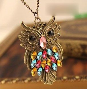 Free shipping new accessories vintage all-match long owl crystal pendant charms necklace female animal punk cutout jewelry women