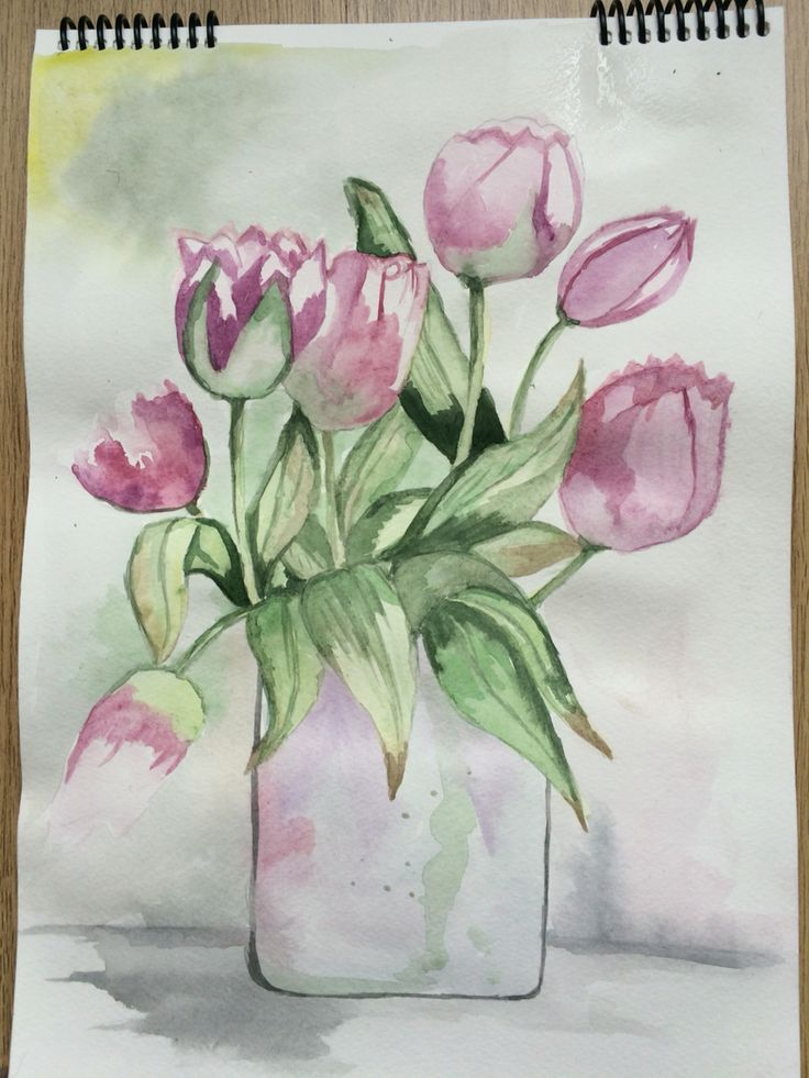 watercolour painting tulips