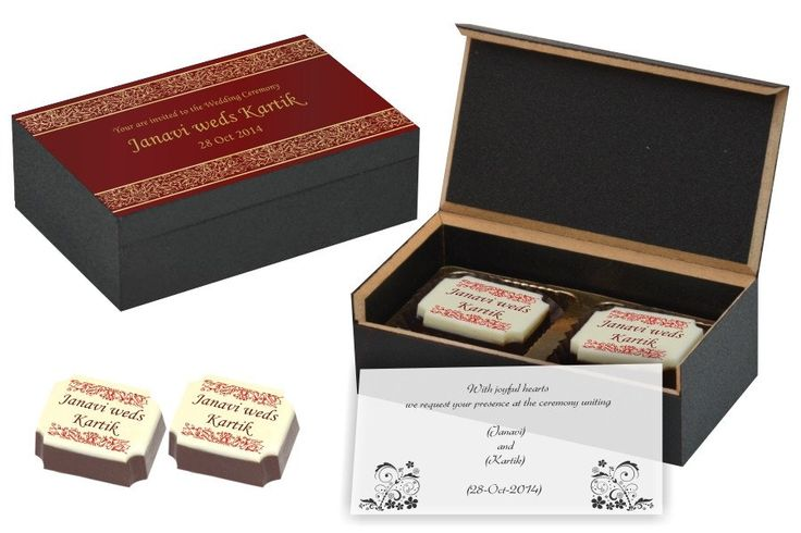 Wedding Invitation Gifts - 2 Chocolate Box - All Printed Candies (10 Boxes)