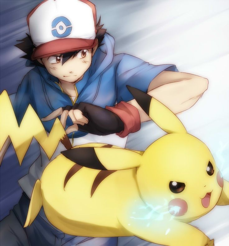 Ash and Pikachu.
