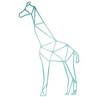 Teal Geometric Giraffe Metal Wall Decor