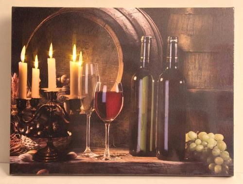 "LED Lighted Flickering Candles and Wine Canvas Wall Art 11.75"""" x 15.75"""""