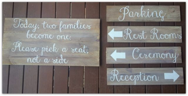 Timber wedding signs created by Marlee & Ash