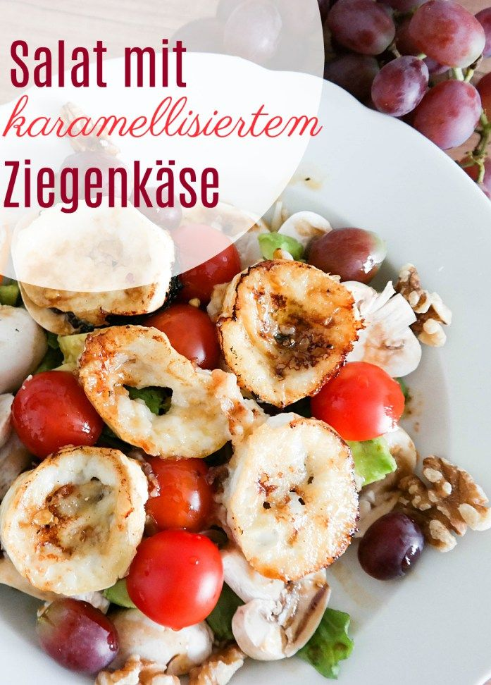 Ziegenkäsesalat mit karamellisiertem Ziegenkäse. Einfaches und leckeres Salat Rezept mit Anleitung zum Karamellisieren. Vegetarisch Kochen.