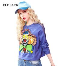 ELF SACK 2017 Women Spring Clown Pattern with Sequins Appliques Sweatshirt Tassel Decoration Long Sleeve with Hollow Out Tops(China (Mainland))