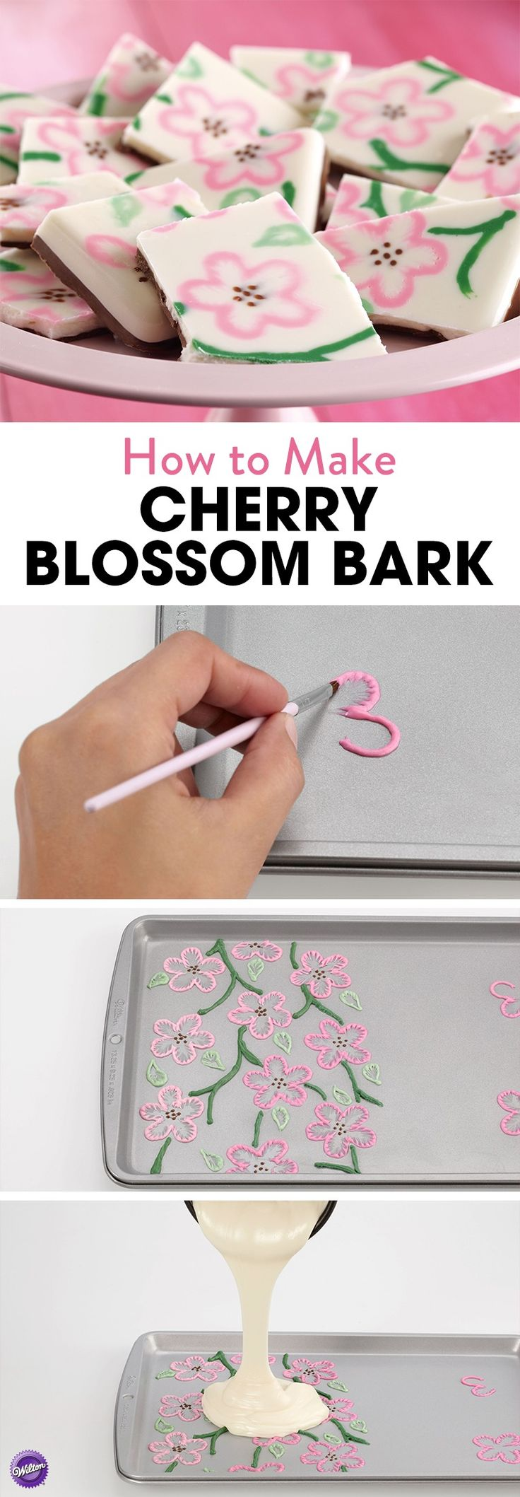 How to Make Cherry Blossom Bark - Melt pink Candy Melts and put in a decorating bag to pipe flowers on a baking sheet.  Use a brush to draw thin lines of the candy toward the center of the petal. Melt green Candy Melts and use it to pipe stems. Pour melted white Candy Melts over flowers, leaves and vines. Chill until firm.