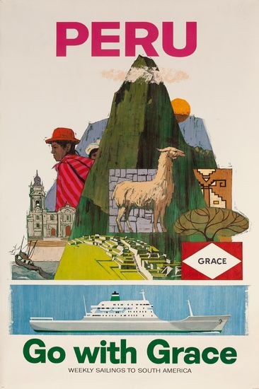 DP Vintage Posters - Peru, Go with Grace, Weekly Sailings to South America, Original Cruise Line Poster
