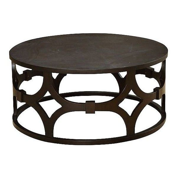 Universal Lighting And Decor Tuxedo Round Wood Coffee Table (u20ac460) ❤ Liked  On