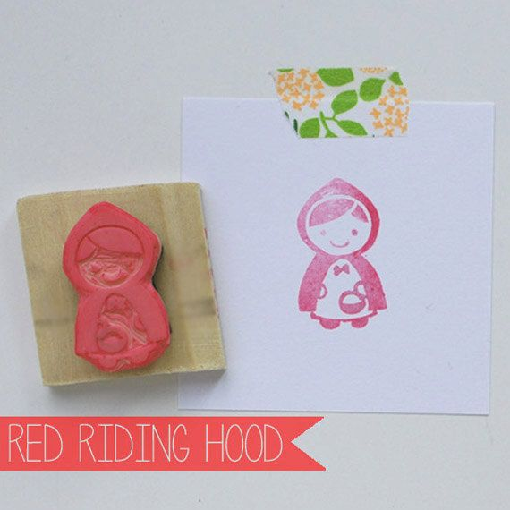 Hand Carved Little Red Riding Hood Rubber by FreshBakedPaperGoods, $9.00