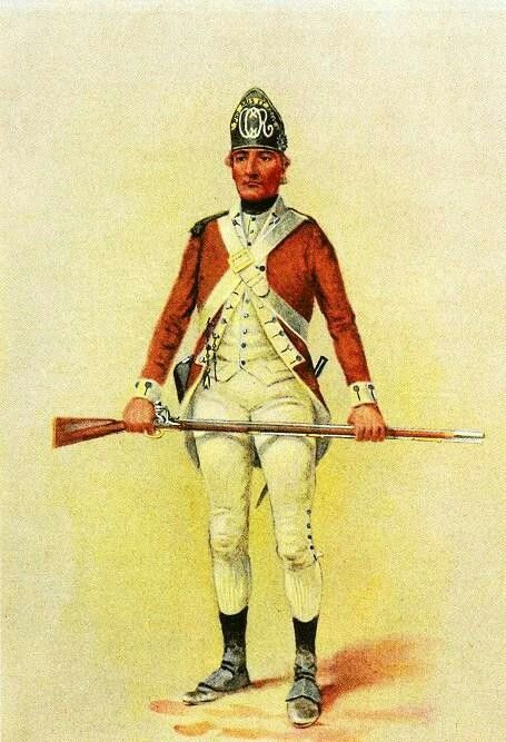 Watercolor drawing, by Charles M. Lefferts, depicting the 2nd Canadian Regiment, Continental Line, uniform Active1776–1783 AllegianceSecond Continental Congress of the United States