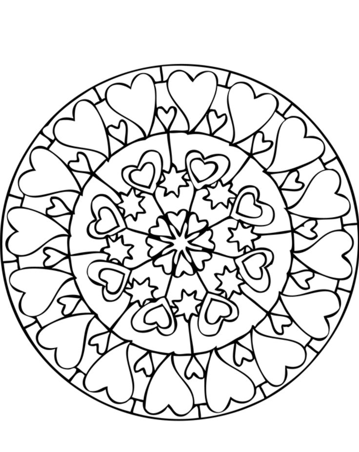 download and print mandala coloring pages lots of hearts