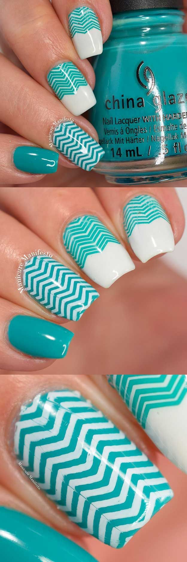Chevron Nail Art Ideas - White & Teal Chevron Nail Art - Best Chevron Nail Art Designs and Ideas On Pinterest, Chevron Nail Designs Step By Step, Chevron French Nails, Gel Nails, Chevron Tutorial For Toes, DIY Nailart For French Tips, Designs For Manicures, Negative Space Uses, and How To Do Chevron Polka Dots. Simple, Awesome, and Gorgeous Chevron Nail Art Ideas You Will Love With Amazing Colors Like Coral, Silver, And Grey. Try Chevon With Stripes For A Fun Look On Valentines Day Or For Su