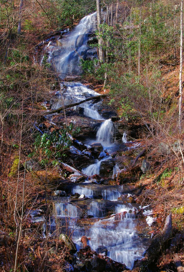 Kissing Falls in Pisgah National Forest near Asheville NC (on hike to Log Hollow Falls). Top 50 waterfalls: http://www.romanticasheville.com/waterfalls.htm