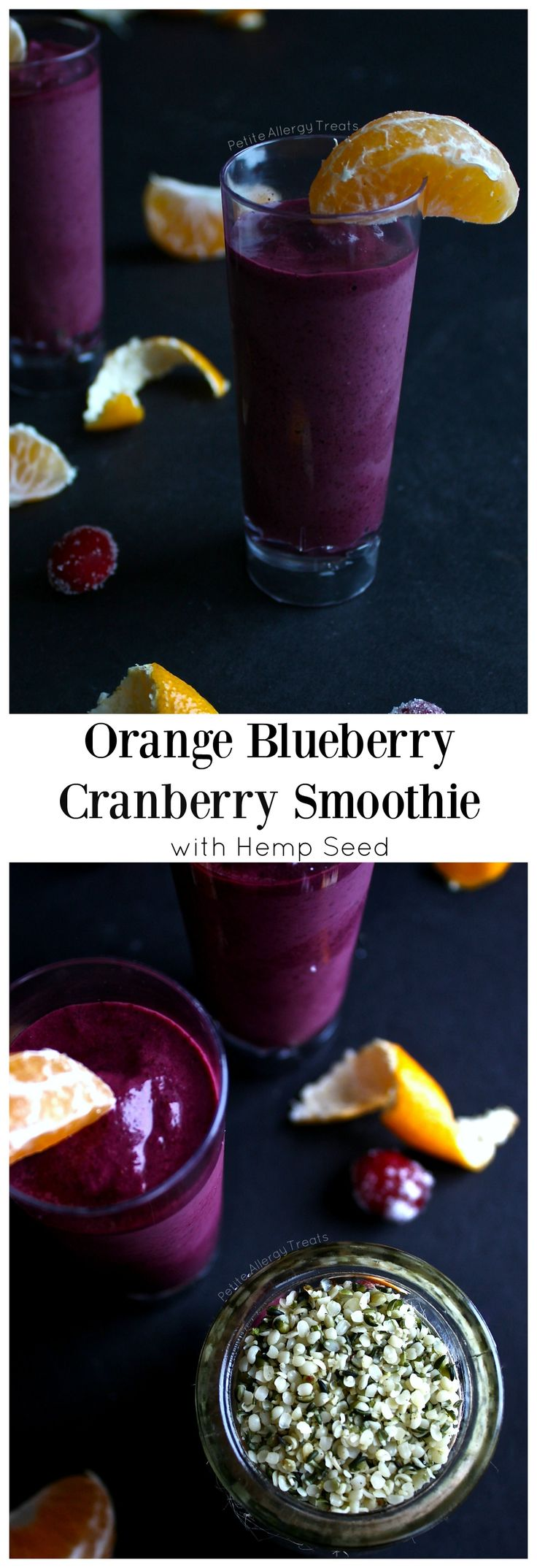 Blueberry Orange Cranberry Hemp Smoothie - Easy breakfast smoothie full of rich antioxidants and protein.