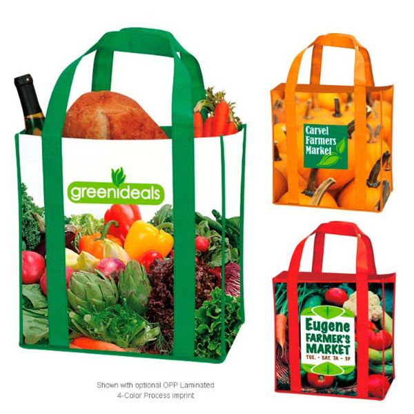 "This laminated non-woven grocery tote is sure to come in handy at your next event! Made of non-woven polypropylene, this trendy tote bag measures 12 3/4"" x 12 1/4"" x 8 5/8"" and features reinforced handles and a deep gusset. The handle size is 1 1/4"" x 20 1/2"". Available in a variety of fun colors, have your logo or custom design imprinted for maximum brand exposure. Great for the beach, grocery shopping and running errands!"