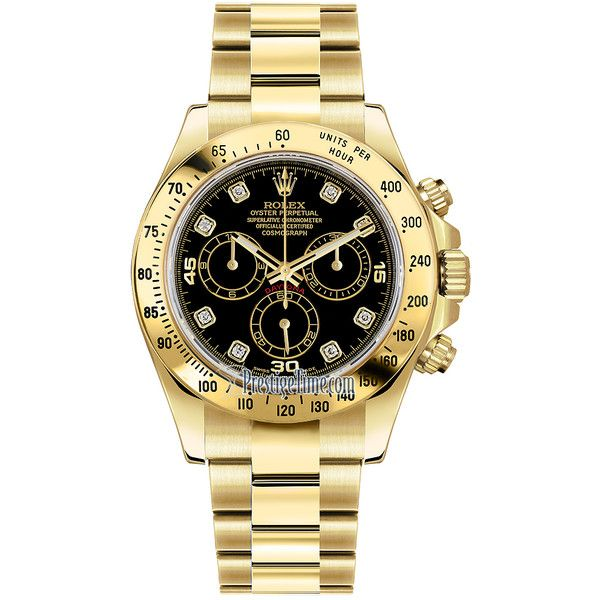 Rolex Cosmograph Daytona Yellow Gold 116528 Black Diamond Watch ($30,378) ❤ liked on Polyvore featuring men's fashion, men's jewelry, men's watches, jewelry, watches, men, accessories, mens chronograph watch, mens gold watches and mens chronograph watches