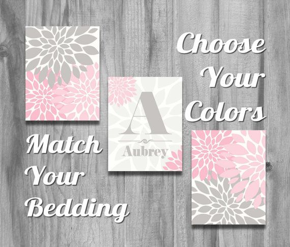 Nursery Wall Art Girl Pink Gray Personalized Set Flower Prints Name Initial Baby Shower Gift Decor 8x10 11x14 5x7