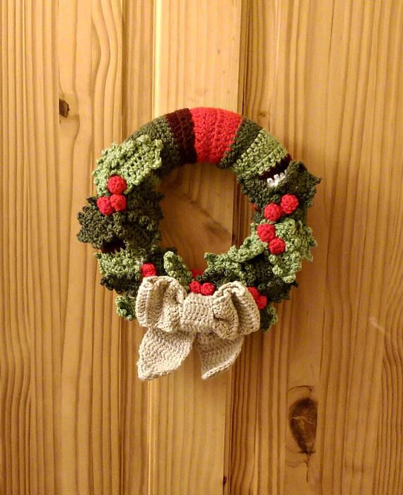 Yule Winter Holly Wreath Christmas Wreath Crocheted Wall or