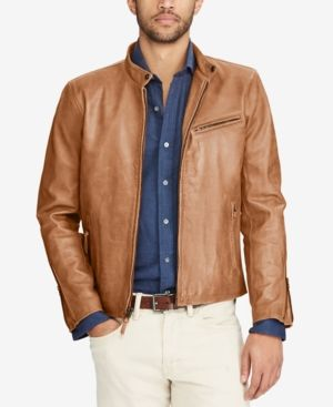 26f8c3728 Polo Ralph Lauren Men Cafe Racer Leather Jacket | Products | Cafe ...