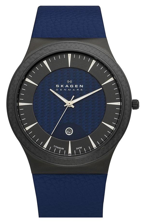 Skagen titanium case leather watch.