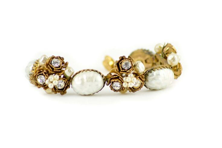 Vintage Miriam Haskell style baroque pearl and floral bracelet by MariniJewellery on Etsy