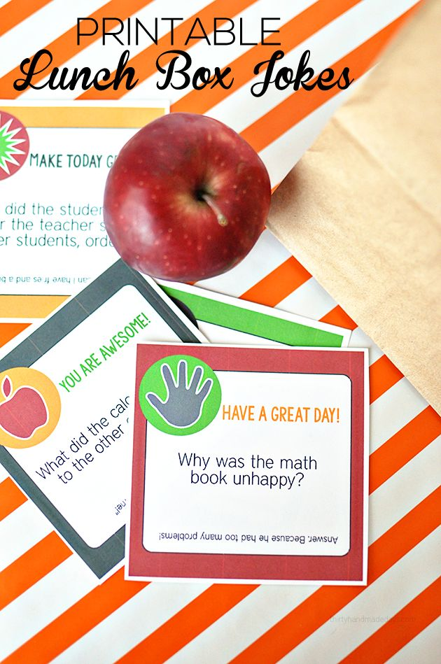 Free Printable Back to School Lunch Box Jokes  from Thirty Handmade Days