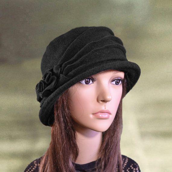 Black felt hats Felted wool hats Felt womens hat by AccessoryArty