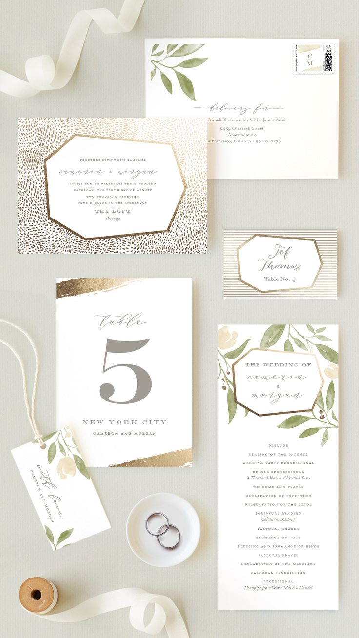 Gorgeous light pink and gold foil floral wedding invitation suite. Garden wedding inspiration. Available on Minted.com and by Minted artist, Oscar & Emma.