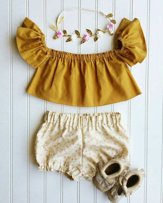 Mustard Lola top off the shoulder toddler top by MaiTiesBoutique