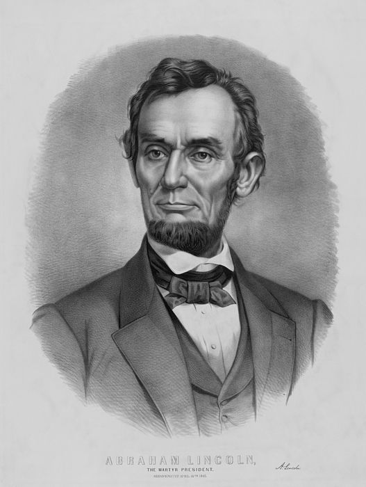 Vintage Abraham Lincoln print. It reads, Abraham Lincoln, The Martyr President, assassinated April 14th 1865. It also features President Lincoln's signature.