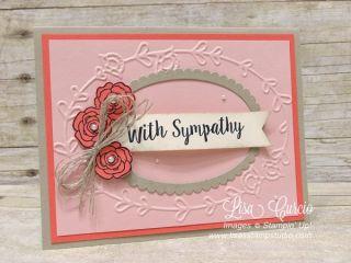 Better Together, Lisa's Stamp Studio, www.lisasstampstudio.com sympathy ovals pink embossing folder