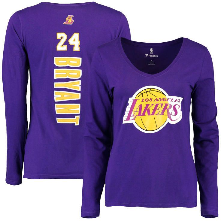 Kobe Bryant Los Angeles Lakers Women's Backer Long Sleeve T-Shirt - Purple - $23.99