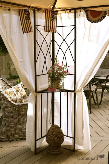 homeroad: DIY Outdoor Canopy Curtains- I love this idea for over our cistern. Privacy :)