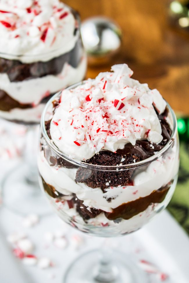 Candy Cane Brownie Trifle from The Food Charlatan