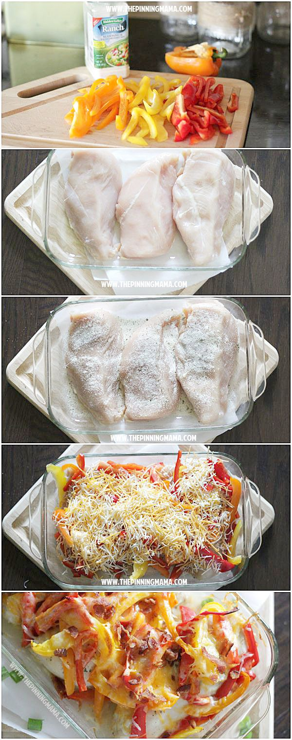 Light bacon ranch chicken bake recipe!  I can't believe a dinner this healthy and delicious is so easy!