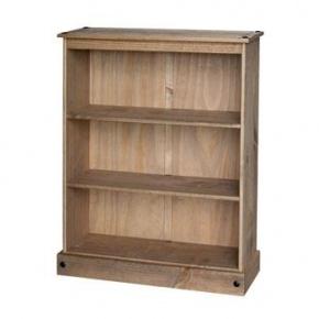 Corona Mexican Pine Low Wide Bookcase CR947   www.easyfurn.co.uk