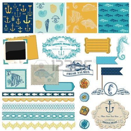 Elementos de dise o del libro de recuerdos Nautical tema del mar para scrapbook y dise o Foto de archivo