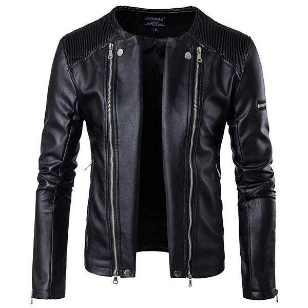 Black Biker Zipper Plus Size PU Leather Jacket ($61) ❤ liked on Polyvore featuring men's fashion, men's clothing, men's outerwear, men's jackets, jackets, men, mens motorcycle jacket, mens biker style jacket, mens collared jacket and mens jackets