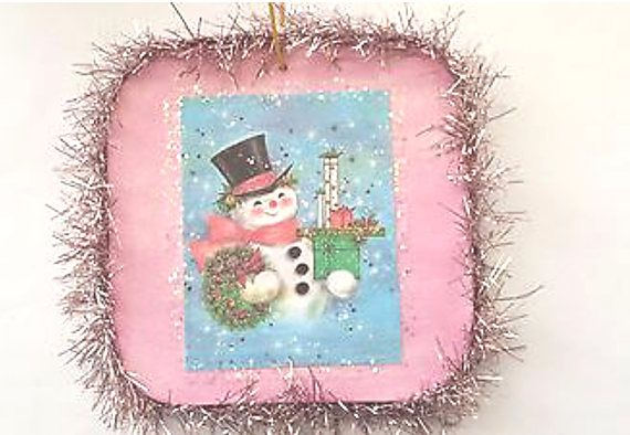 Vintage Style Snowman Glittered Wood Christmas Ornament