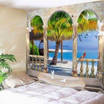 Window birds coconut tree seaside wall waterproof tapestry