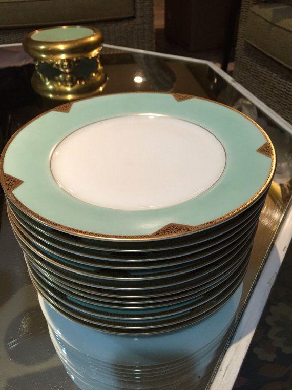Vintage Plates/12 Dinner Plates/Royal Schwarzburg/Aqua Border/Art Deco/  Gold Trim/Dinnerware Set/Dinner Party/Cabinet Display/Circa 1920s