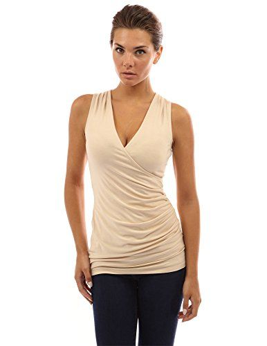 PattyBoutik Women's V Neck Ruched Side Tank Top (Beige L)