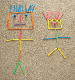 Building shapes, letters, and people with craft sticks. Body awareness and being able to construct or draw a person is a HUGE pre-requisite to being able to correctly form letters. ~ Puttis World -kids-activities