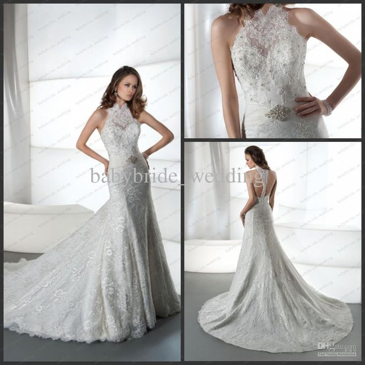 Sexy Halter T Back Sheath bridal gowns Jeweled lace tulle high neck Demetrios 1442 Wedding Dresses